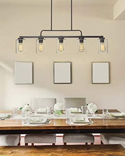 5 Light Kitchen Island Lighting Beionxii 42 Large Farmhouse Linear Chandelier For Dining Room Pool Table Pendant Oil Rubbed Bronze