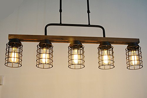 Baiwaiz Wood Pool Table Light Rustic Kitchen Island Lighting Metal Cage Linear Chandelier Industrial Farmhouse Dining Farmhouse Touches