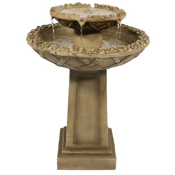 Sunnydaze Beveled Flower 2 Tier Birdbath Water Fountain 28 Inch Tall