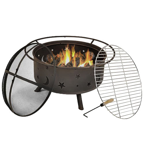 Sunnydaze 30 Inch Cosmic Fire Pit with Cooking Grill & Spark Screen