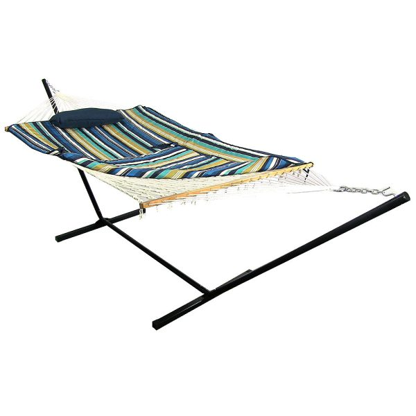 Sunnydaze Cotton Rope Hammock with 12 Foot Stand & Bed Pad Pillow - Lakeview