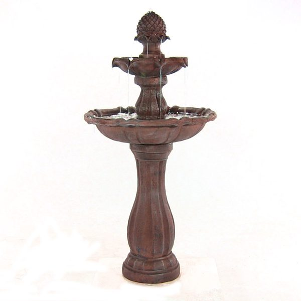 Sunnydaze 2-Tier Pineapple Solar Fountain with Battery Backup, Rust Finish, 46 Inch Tall, No
