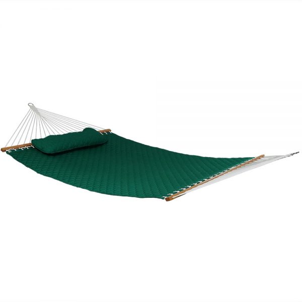 Sunnydaze Quilted Designs Double Fabric 2 Person Hammock with Spreader Bars and Pillow, Green, Hammock Only