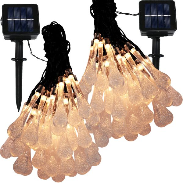 Sunnydaze 30-Count LED Solar Powered Water Drop String Lights, Warm White, 2 Sets