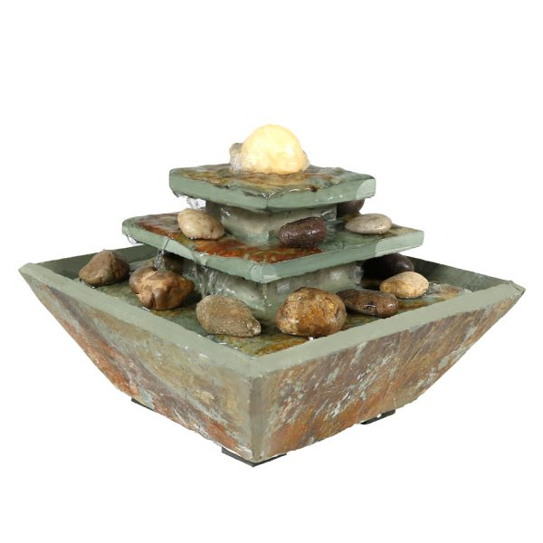 Sunnydaze Ascending Slate Tabletop Water Fountain with LED Light 8 Inch Tall