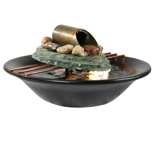 Sunnydaze Soothing Balance Slate Tabletop Water Fountain with Light - 7 Inch