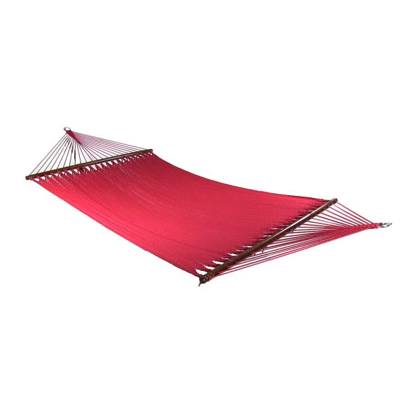 Sunnydaze Large 2 Person Soft-Spun Polyester Rope Hammock with Spreader Bars, 600 Pound Capacity, Red