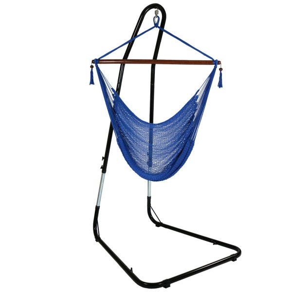 Sunnydaze Caribbean Extra Large Hammock Chair with Adjustable Stand, Soft-Spun Polyester, 40 Inch Wide Seat, Blue