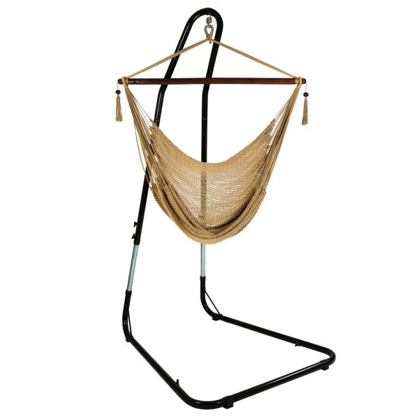 Sunnydaze Caribbean Extra Large Hammock Chair with Adjustable Stand, Soft-Spun Polyester, 40 Inch Wide Seat, Tan