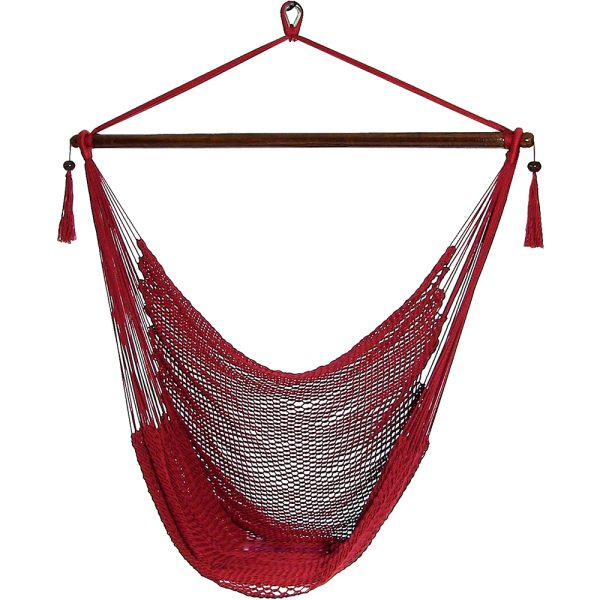 Sunnydaze Caribbean Extra Large Hammock Chair, Soft-Spun Polyester Rope, 40 Inch Wide Seat, Red