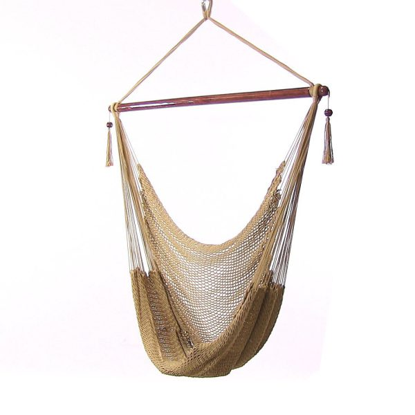 Sunnydaze Caribbean Extra Large Hammock Chair, Soft-Spun Polyester Rope, 40 Inch Wide Seat, Tan