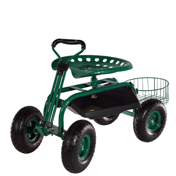 Sunnydaze Rolling Garden Cart with Extendable Steering Handle, Swivel Seat & Planter Basket, Green
