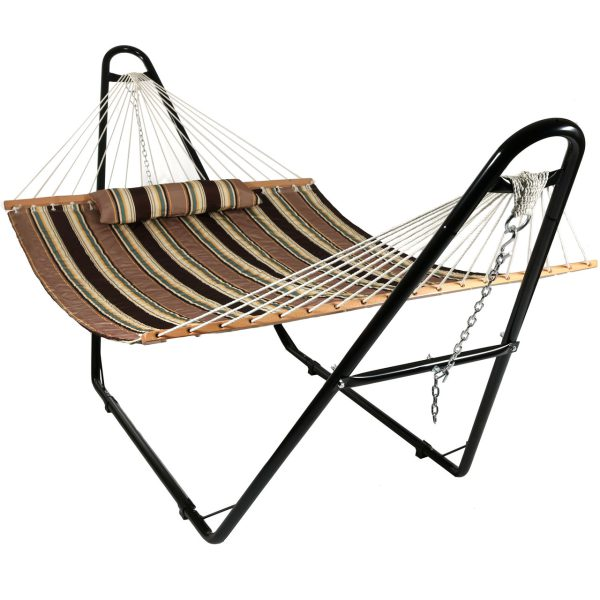 Sunnydaze Quilted 2 Person Hammock with Universal Steel Stand - Sandy Beach
