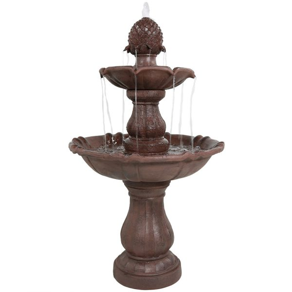 Sunnydaze Decor 2 Tier Curved Plinth Outdoor Water Fountain - LZH-124