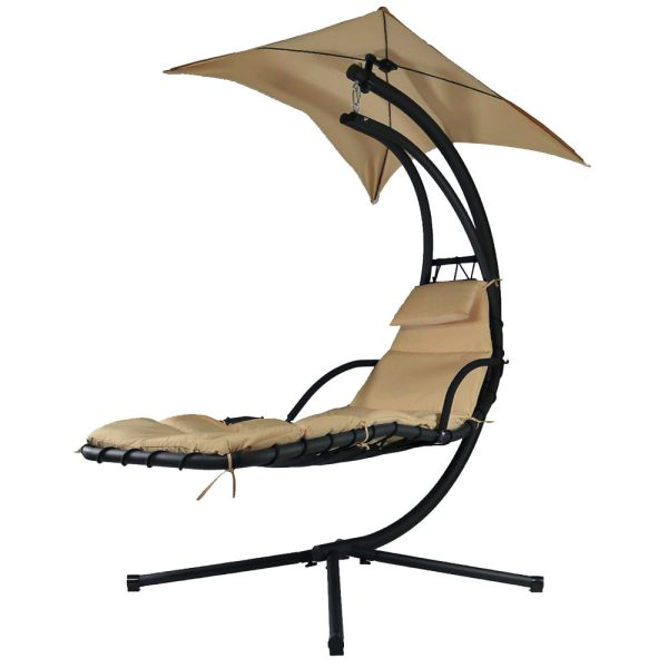 Sunnydaze Floating Chaise Lounge Chair, Beige
