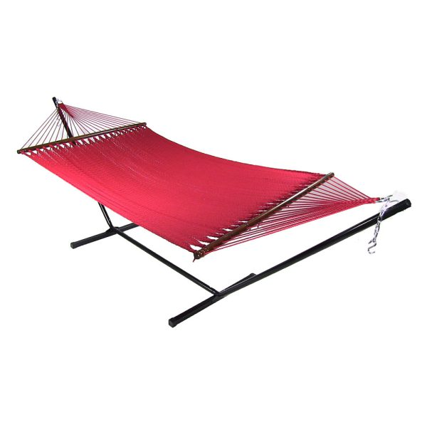 Sunnydaze Large 2 Person Soft-Spun Polyester Spreader Bar Rope Hammock with Stand, 350 Pound Capacity, Red