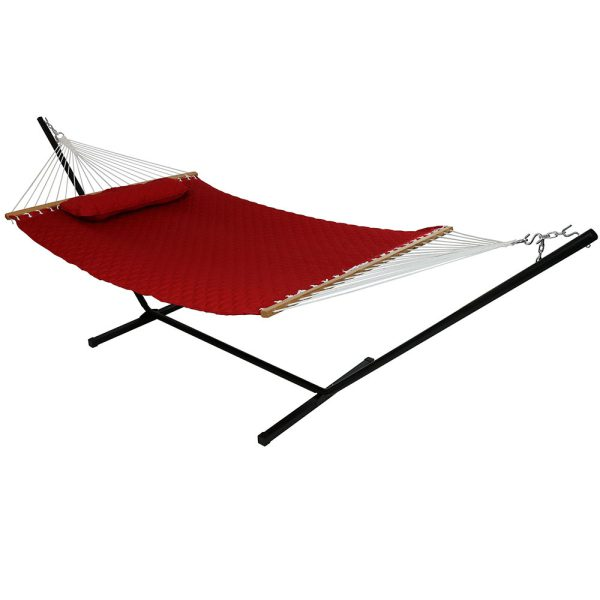 Sunnydaze Quilted Designs Double Fabric 2 Person Hammock with Spreader Bars and Pillow, Red, Hammock With Stand