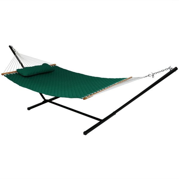 Sunnydaze Quilted Designs Double Fabric 2 Person Hammock with Spreader Bars and Pillow, Green, Hammock With Stand