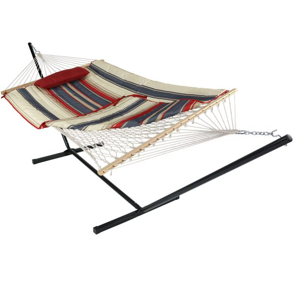 Sunnydaze Cotton Rope Hammock with 12 Foot Steel Stand, Pad and Pillow, 275 Pound Capacity, Modern Lines