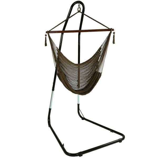 Sunnydaze Caribbean Extra Large Hammock Chair with Adjustable Stand, Soft-Spun Polyester, 40 Inch Wide Seat, Mocha