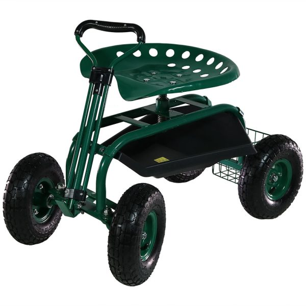Sunnydaze Rolling Garden Cart with Extendable Steering Handle, Swivel Seat & Basket, Green