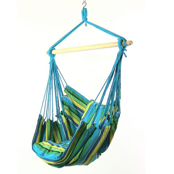 Sunnydaze Hanging Hammock Swing with Two Cushions Set of 2 Ocean Breeze