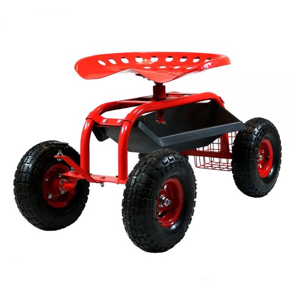 Sunnydaze Rolling Shop Cart with Work Seat, Tool Basket, and Tray, Red