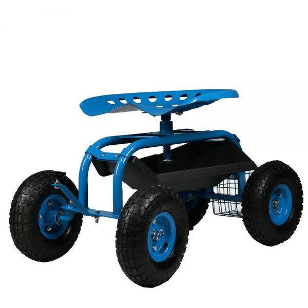 Sunnydaze Rolling Shop Cart with Work Seat, Tool Basket, and Tray, Blue