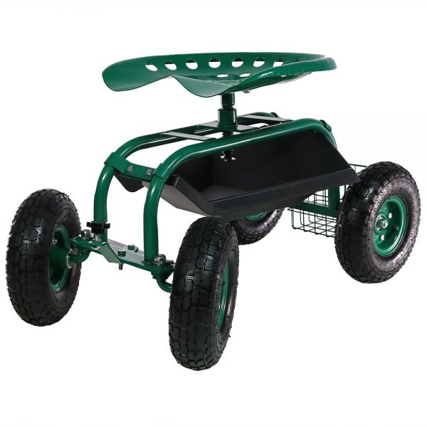 Sunnydaze Rolling Garden Cart with Work Seat, Basket, and Tray, Green