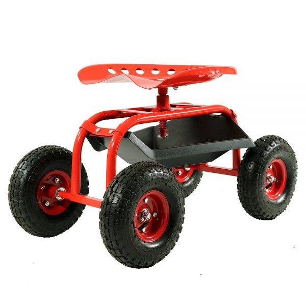 Sunnydaze Rolling Shop Cart with 360 Degree Swivel Seat & Tool Tray, Red