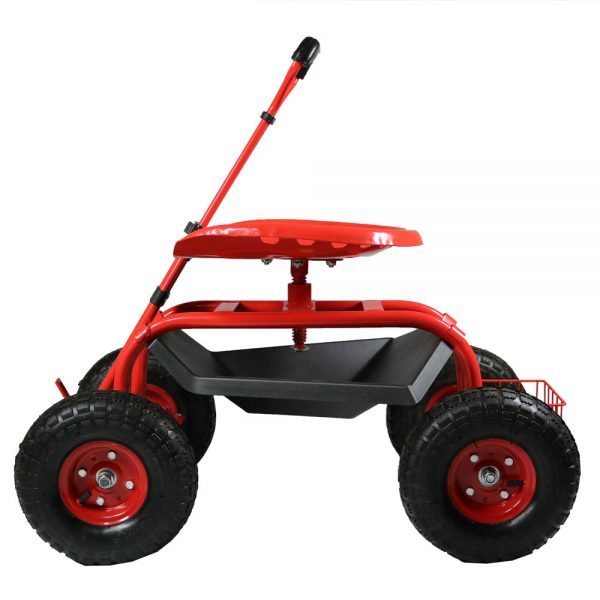 Sunnydaze Rolling Garden Cart with Extendable Steering Handle, Swivel Seat & Basket, Red