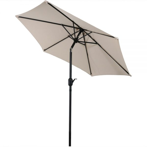 Sunnydaze Aluminum 7.5 Foot Patio Umbrella with Tilt & Crank, Beige