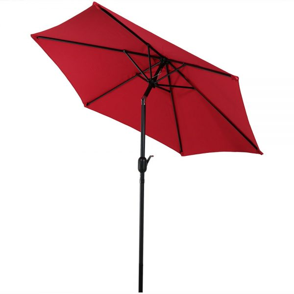 Sunnydaze Aluminum 7.5 Foot Patio Umbrella with Tilt & Crank, Red