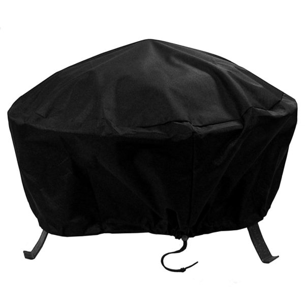 Sunnydaze Heavy-Duty Weather-Resistant Round Fire Pit Cover with Drawstring and Toggle Closure, Size and Color Options Available, Black, 40-inch Diameter