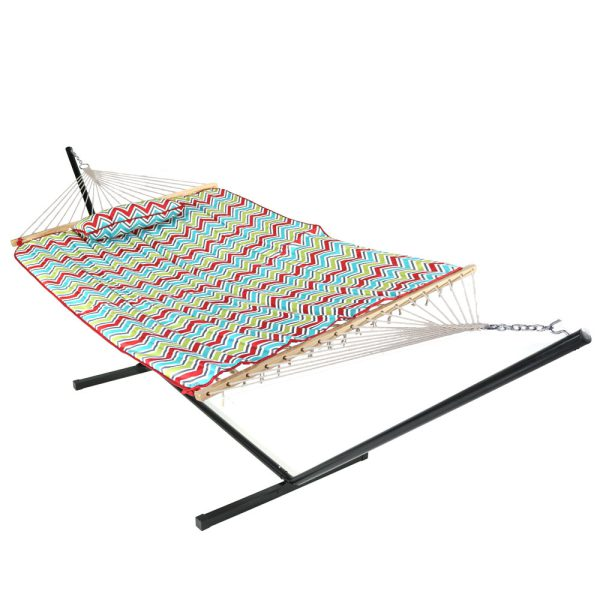 Sunnydaze Cotton Rope Hammock with 12 Foot Steel Stand, Pad and Pillow, 275 Pound Capacity, Multi-Color Chevron
