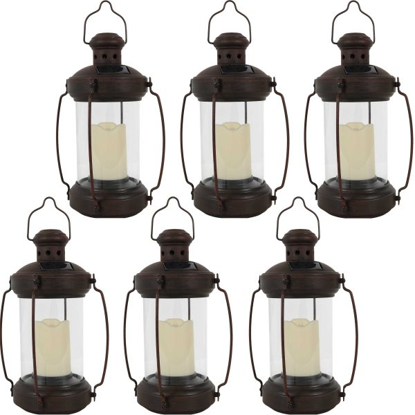 Sunnydaze 12 Inch Outdoor Antique Hanging Solar Lantern with Candle & LED - 6pk
