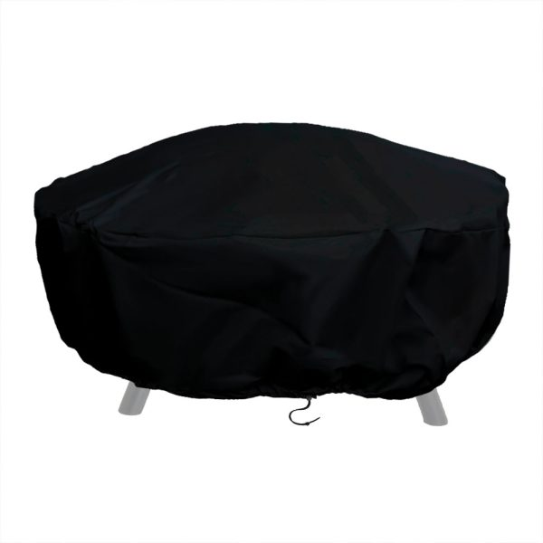Sunnydaze Heavy-Duty Weather-Resistant Round Fire Pit Cover with Drawstring and Toggle Closure, Size and Color Options Available, Black, 58-inch Diameter