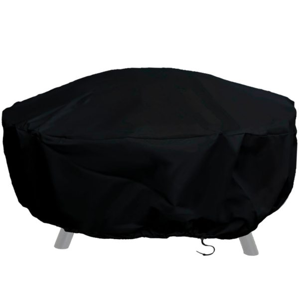 Sunnydaze Heavy-Duty Weather-Resistant Round Fire Pit Cover with Drawstring and Toggle Closure, Size and Color Options Available, Black, 80-inch Diameter