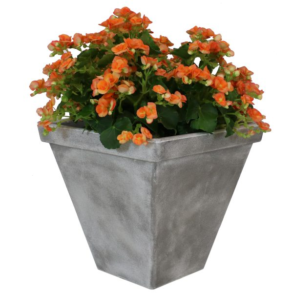 Sunnydaze Hamilton Outdoor/Indoor Planter Pot, Heavy-Duty Double-Walled Polyresin with UV-Resistant Antique Quarry Finish, 16-Inch, 1