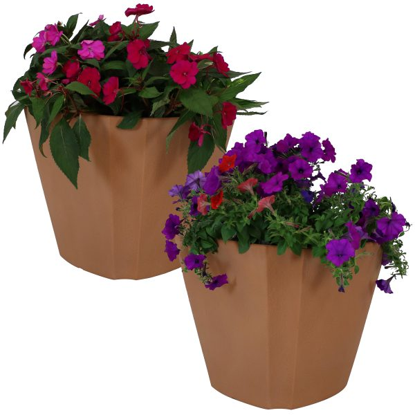 Sunnydaze Jefferson Outdoor/Indoor Planter Pot, Heavy-Duty Double-Walled Polyresin with UV-Resistant Natural Clay Finish, 20-Inch, Set of Two