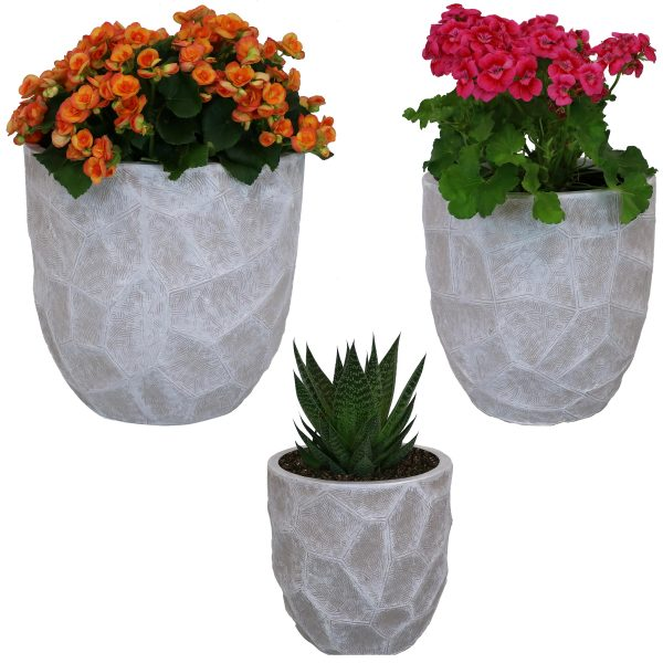 Sunnydaze Homestead Fiber Clay Planter Flower Pot, Durable Indoor/Outdoor Sets, Carved Stone, Light Gray, 3-Piece Set