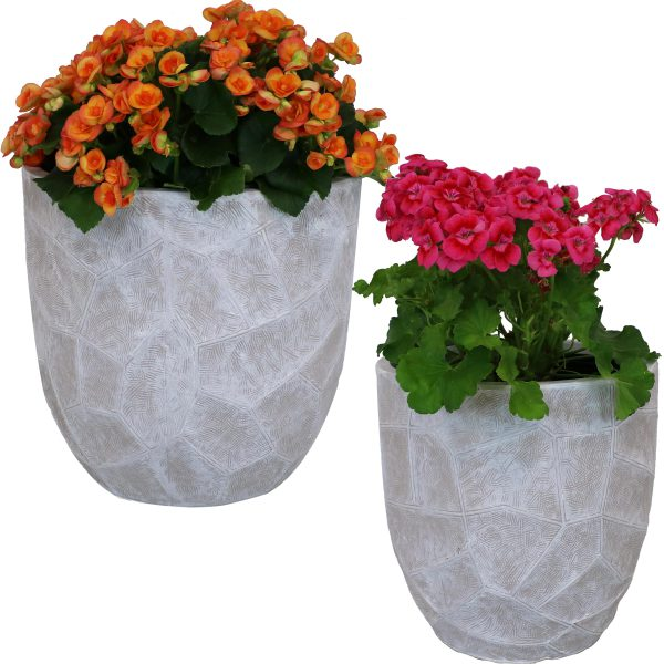 """Sunnydaze Homestead Fiber Clay Planter Flower Pot, Durable Indoor/Outdoor Sets, Carved Stone, Light Gray, One 12"""" & One 15"""""""