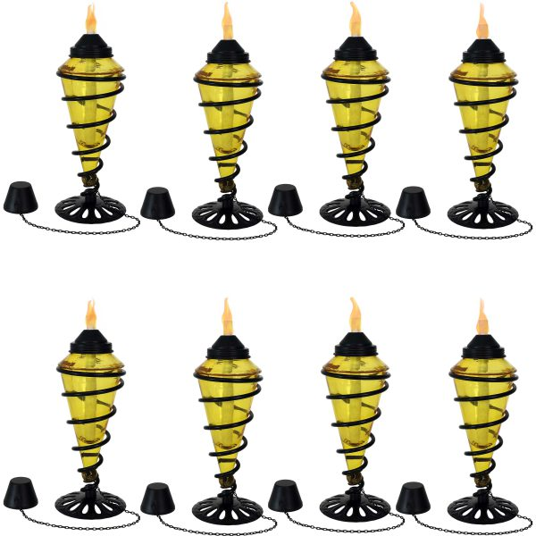 Sunnydaze Yellow Glass Outdoor Tabletop Torches - Fiberglass Wicks - Set of 8