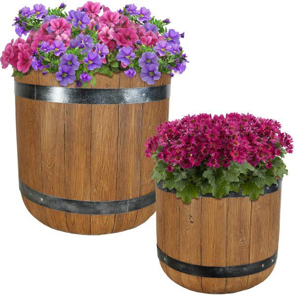"Sunnydaze Vineyard Fiber Clay Classic Barrel Planter Flower Pot, Durable Indoor/Outdoor Sets, One 15"" & One 19"""