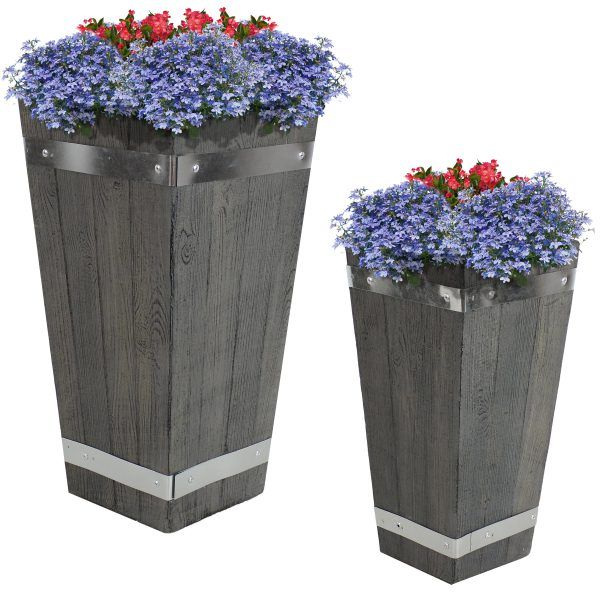 """Sunnydaze Courtyard Fiber Clay Square Barrel Planter Flower Pot, Durable Indoor/Outdoor Sets with Wood Plank Design, One 15"""" & One 18"""""""