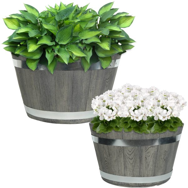 "Sunnydaze Chateau Fiber Clay Round Barrel Planter Flower Pot, Durable Indoor/Outdoor Sets, One 14"" & One 17"""