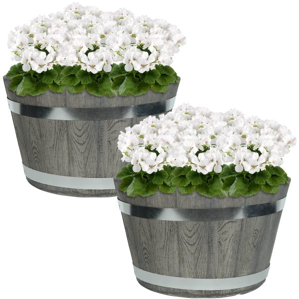 "Sunnydaze Chateau Fiber Clay Round Barrel Planter Flower Pot, Durable Indoor/Outdoor Sets, 14"" Set of 2"