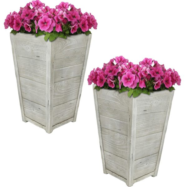 "Sunnydaze Manor Fiber Clay Square Planter Flower Pot, Durable Indoor/Outdoor Sets with Distressed Wood Finish, 13"" Set of 2"