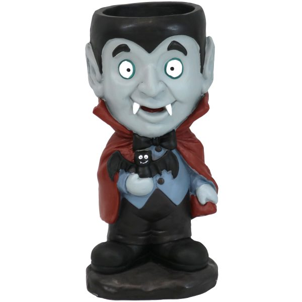Sunnydaze Count Dracula Halloween Statue with Candy Bowl Dish - 27-Inch Tall