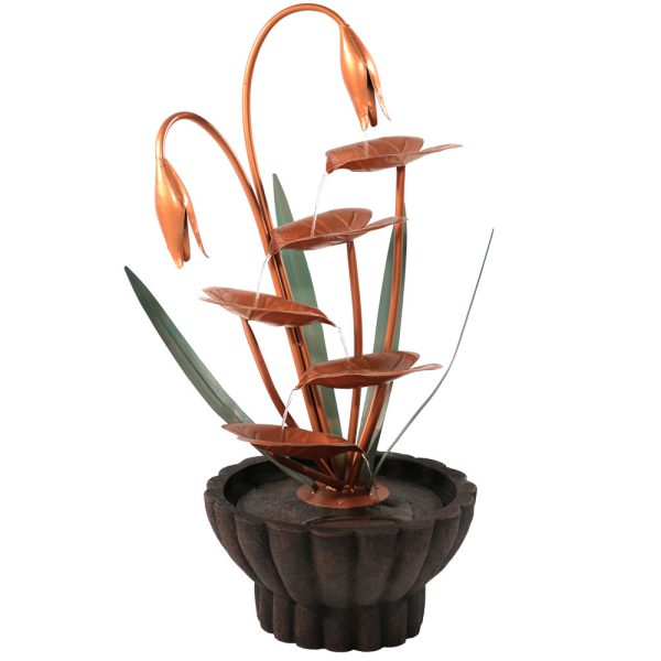 Sunnydaze Copper Flower Petals with Five Tier Leaves Outdoor Fountain - 34 Inch